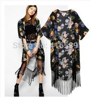 Shawl AS*s Summer new loose European style short sleeve chifoon tassel flower print longsun portective chiffon cardigan