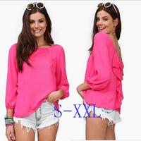 Free Shipping new women's shirt big yards temperament elegant halter chiffon wild shirt S / M / L / XL / XXL