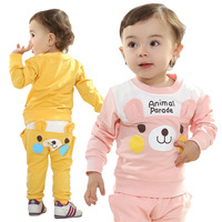 Retail Children's Clothing 2014 New, Baby Lovely Smile Small Bear Style Long Sleeve + Pants Suit Free Shipping