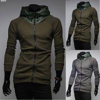 2014 new Autumn thin solid colors Turtleneck hooded sport sweatshirt men casual slim fit High collar hooded Cardigan,M-XXL,W06