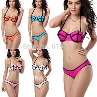 2014 Newest Sexy Swimwear Women Neon Style Super Sexy Bikinis Swimsuit Bikini Set S-L 5 Colors
