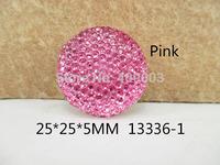 50Y13336 freeshipping 25*25*5mm Round Shape Flatback Resin Beads Rhinestone Beads Stick On Cabochons Embellishment diy Jewelry