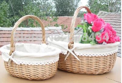free shipping! fashionable pretty willow fruit baskets, shopping picnic flower gift basket wicker storage box eco-friendly(China (Mainland))