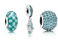 925 Sterling Silver Tropical Seahorse Pendant Charm Bead Sets Fit European Jewelry Bracelet Necklaces