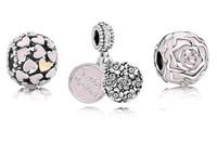 925 Sterling Silver Enamel Pendant Charm Bead Sets Fit European Style Jewelry Bracelet Necklaces-Pink Sweet