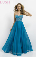 New Bewitching 2015 Ocean Crystal Beaded Sweetheart bodice With A-Line Chiffon Special Occasion Prom Evening Dresses