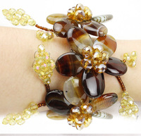 F670FREE SHIPPING!!!2014 trendy fashion bardian  dazzle  agate flower  bracelet New Arrival