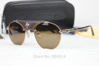 Leather Decor Japanese Round Sunglasses! Retro Metal Unisex  Mens Women Fashion Cool Brand Designer Sun Glass Eyewear Frame 2014