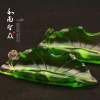 Supplies incense burner incense holder colored glaze lotus line incense holder lying hong lotus leaf incense holder big Small
