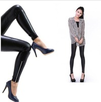 Fitness clothing for women big code PU leather leggings waisted bodysuit female trousers skinny pants women jeans free shipping
