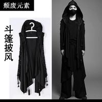 Goths bandage trench male summer black outerwear novelty punk cloak sleeveless