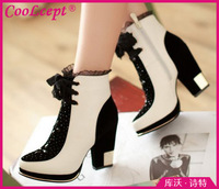 CooLcept Free shipping ankle high heel wedge short boots women snow fashion winter warm boot footwear P14653 EUR size 34-40