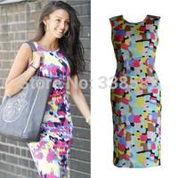 Hot Sale 2014 New Women's Fashion Sleeveless Printed Vest Casual Bodycon Sexy Pencil Knee-Length Dress Plus Size S-XXL