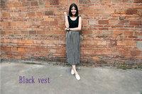 New 2014 Summer New Korean Women Dress Latest Minimalist Thin Stripes Stitching Vest Dress Sleeveless Dress Women