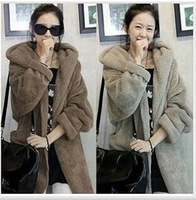 Free Shipping 2014 New England autumn winter big yards thick lamb plush hooded cloak woolen coat jacket women