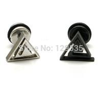 New Fashion Hollow Triangle titanium steel Punk Men Screw stud earrings No fade free shipping