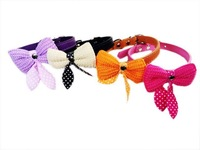 beautiful New style woolen bow pu leather cats and dogs pet collars