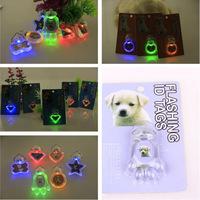 Free Shipping 10pcs/lot Flashing Dog Pendant, 5 Colors Led Flashing Pet Tag Light, Star/Bone/Round/Diamond/Heart/Palm Shape.