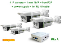 720P ONVIF IP camera kits with 4CH mini NVR for home security system support smart phone remote surveillance (R-KITS-A)