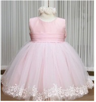 2014 Baby girl's dress kids Girl party dress wedding pink flower princess dresses jazz style black dress with rose tie bow TuTu