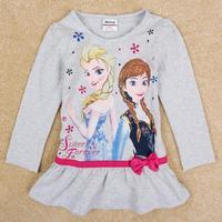 2014 Newness Nova Kids Frozen Clothing Small Cute Girls Long-Sleeved Top Shirt Bottoming Girls Blouses Free Shipping