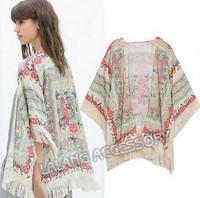 Freeshipping Women New Tassel Regular Floral New Antique Flower Fringed Shawl Sweater Chiffon Kimono Cardigan Coat Jacket 850902