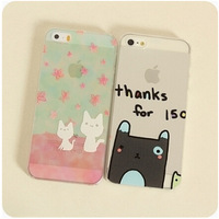 Ultra-thin translucent hard shell relief cat ears woman girls 4 4S 5 5S for iphone 5s case cat for iphone 4 case cat woman