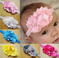 Hair Bows Newborn Baby Girl chiffon fabric and satin flowers setting stone and pearl headbands Headdress flower 10 colors