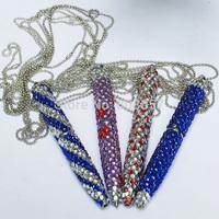 2014 Hot Free shipping(50pcs/lot) wholesale Fashion 10.5cm twist necklace beaded ballpoint pen cute glitter pen