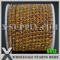 Free Shipping SS12 Single Row DENSE Rhinestone Chain, Topaz Rhinestone in Silver Chain X11112
