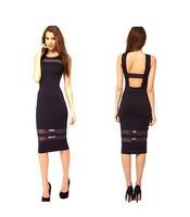 Women's Fashion Backless Strappy See-through Mesh Dresses