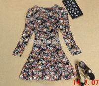 highest quality  2014 new fashion Free shipping cheapest price Falbala big long-sleeved dress 6262