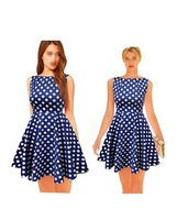 Neo Fashion Women's Fit-and-Flare Sleeveless Pleated Polka Dot Dress