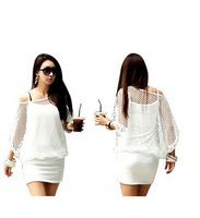 Women's New Fashion Celebrity Bat Hollow Top Bodycon Slim Dresses