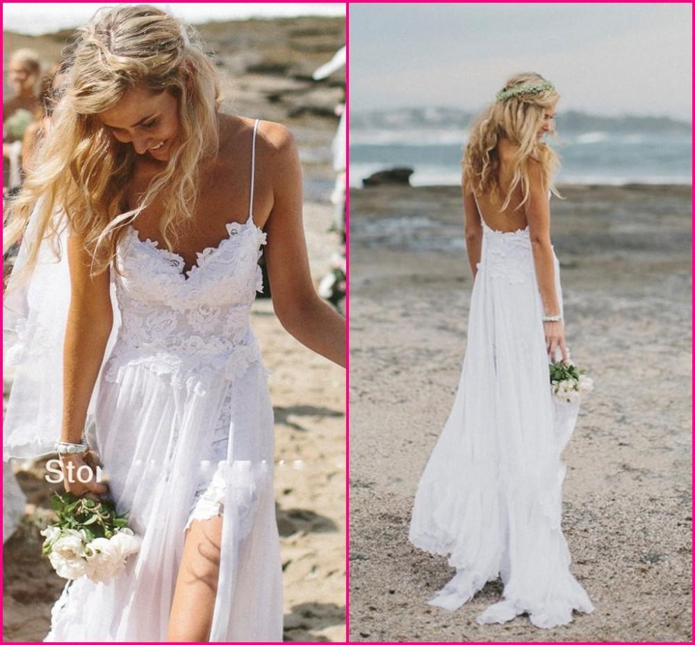 En stock sexy espaguetis correas cordón playa de vestidos de novia vestidos 2014 v cuello blanco marfil sin respaldo& bodas eventos vestidos