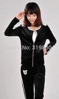2014 autumn Korean female gold velvet velor track suit casual sportswear suit sweater