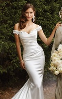 Hot sale White/ivory  Short sleeves wedding dress Bridal gown Custom Size A-135