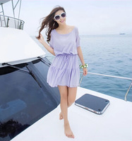 2014 HOT Summer Women's Clothing One-piece Dress Basic Women's Bohemia Beach Short Dress Trapless Dress Female