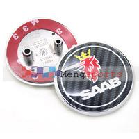 50pcs SAAB Badges Copy Carbon Fiber Emblem Bonnet Boot 63mm with 2 Big Pins