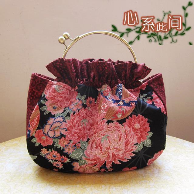 Diy handmade fabric material kit set cutting peony hydrangea mouth gold package with handle metal frame handbag needlework(China (Mainland))