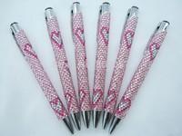 2014 Hot Free shipping(50pcs/lot) wholesale Fashion Heart 13.5cm clip crystal gift pen cute ball pen