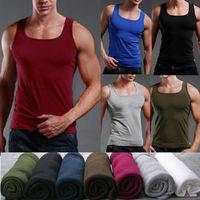 2014 Summer Men Fitness Tank Tops Men's Sport Tank Top Undershirt Slim Fit Cotton Trend Candy Color Bottoming Vest