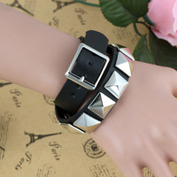 Free Shipping 18mm Unisex Punk Style Square-Shaped  Wrapped Metal Rivet Leather Bracelet(10Pcs)(Black)35101#
