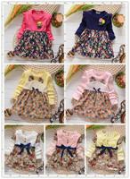 2014 new kids fashion dress baby girls long sleeve flower print cute pricess dress children clothing wear