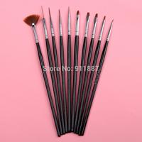 Wholesale Po New Black 10Pcs/Set UV Gel Cosmetic Nail Art Polish Painting Draw Pen Brush Tips Tools Set