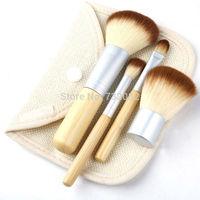 4pcs /set Hot Sale 4Pcs Earth-Friendly Bamboo Elaborate Makeup Brush Sets Free Shipping  E5465