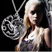 Wholesale Lots 2014 New Game of Thrones Vintage Dragon Pendant Necklace Women Jewelry Free Shipping