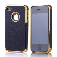 Hot Selling Luxury Electroplated Stick Leather Hard Case For iPhone 4 4S 100pcs/lot 8 Color  Free shipping