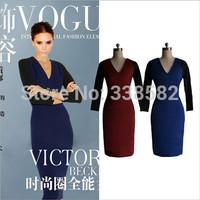 2014 Spring&Summer VB Victoria Beckham Womens V-neck Office Lady Elegant Slim Stretch Sheath Pencil Dress Zipper Casual Dress