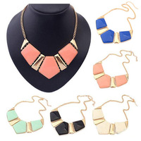 brand new gold plated necklaces pendants fashion statement choker necklace for women 2014 vintage imitate gemstone jewelry